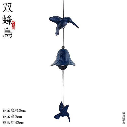 WuSEN Eisenglocken im japanischen Stil Outdoor Gusseisen Glocken Doppelkolibri, Tempelgeschenke und Anhänger, N/A, Two Hummingbirds (Blue) -