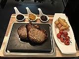 1x 7pezzi Set Steakstone nero pietra lavica in caldo piastra con cucchiaio-bistecca Stones at Home