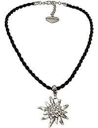 Trachtenschmuck Trachtenkette Kordel mit Strass-Edelweiß (schwarz) * Damen Dirndlkette, Kordelkette Oktoberfest