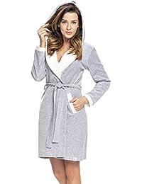 dn-nightwear Damen Bademantel mit Kapuze SWD.9072