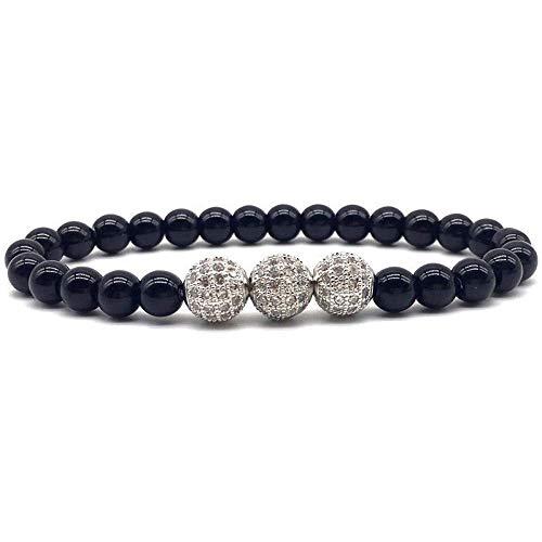 Armband Armreif,Schmuck Geschenk,Hot Fashion 3Balls Men Bracelets 6Mm Matte Round Beads Stone Strand Pava Cz Charm Bracelet for Men Women Jewelry