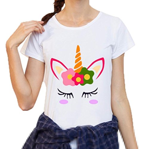 Lenfesh Camiseta Básica Las Mujer Casual Camisetas Redondo Blusa Tops Remera Graphic Unicornio (L, Blanco)