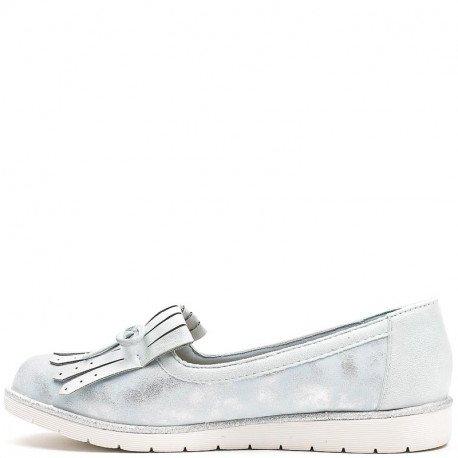 Ideal Shoes - Mocassin bi-matière avec frange et nœud Talyana Bleu