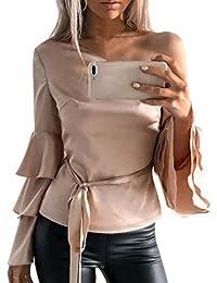 Betrothales Para Blusa Mujer Elegante Camisas Color Sólido Blusa Camisetas  Tops Blusa Hombro Manga Larga Asimétrica a75335ae1fc