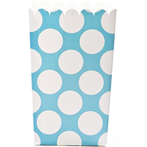 Simply Baked Large Paper Popcorn Box, Turquoise & White Dot, Disposable and Sturdy, 6-Pack - Dots Cupcake Liner
