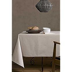 Mantel de lino-algodón anti manchas, modelo Lino natural, resinado y con Teflón de Dupont® - cuadrado 150x150 - beige