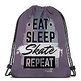 Jiuerlius1 Man Women Drawstring Bag Lightweight Quote typographical Eat Sleep Skate Repeat Skateboard Minimalistic Style Grunge Vintage Fonts Template
