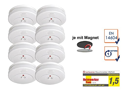 SMARTWARES 8er-Set Rauchmelder reinweiß mit Magnethalter, 85dB Alarm, TÜV zertifiziert; RM149...