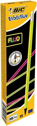 BIC 942882Fluo lápiz Evolution Fluo HB, con goma de borrar del eje 4de varios colores, caja de 12unidades)