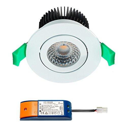 Spot LED encastrable CREE (Blanc) | encastrables/plafond Spot/Spots Encastrables/lampe/Downlight/plafond spots/plafond lumineux encastrés | 9 W/DIMM Bar/orientable/230 V/IP44/Blanc Chaud