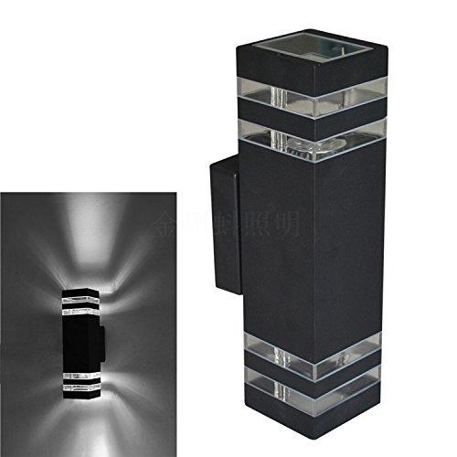 BOOTU 2 LED de luces de pared apliques de 2 vías de transmisión de la luz exterior solo apliques de espárrago hacia arriba y hacia abajo transparente 3w6w todos de aluminio, 65 * 110 * 200 mm
