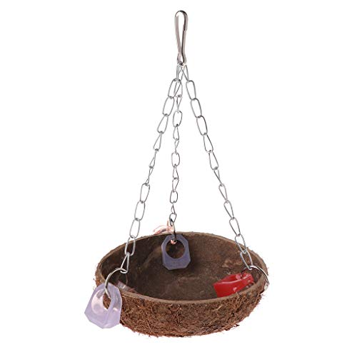 niumanery Parrot Toys Perch Coconut Shell Swing Nest Hanging Cage Natural Birds Parakeet