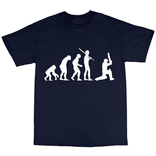 Cricket Cricketer Evolution T-Shirt 100% Baumwolle Marineblau