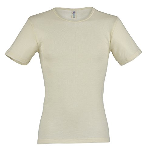 Herren Unterhemd kurzarm, Wolle & Seide, Engel, Natur Gr. 54/56 (Wolle T-shirt Kurzarm)