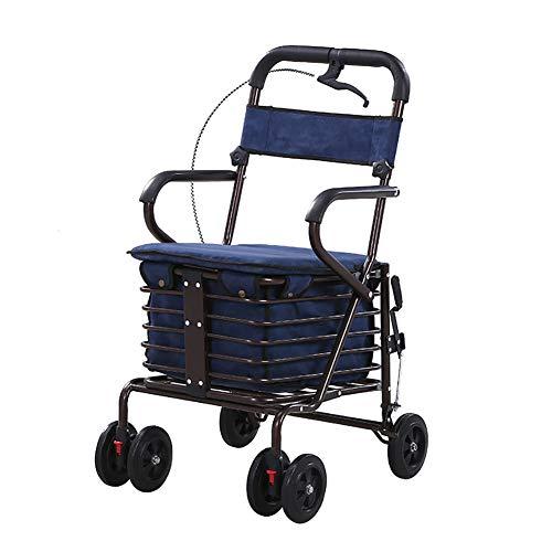4 Wheel Walker Rollator Folding Mit Abnehmbarer RüCkenstüTze Kommt Mit Weich Gepolstertem Sitz, Aufbewahrungskorb Ergonomischer Griff, Blue, Double Wheel