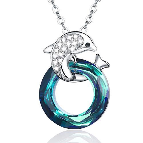 Cuoka 925argento sterling delfino collana ciondolo moda donna gioielli circle ciondolo collane per donne gioielli catena 45,7cm (per le donne)