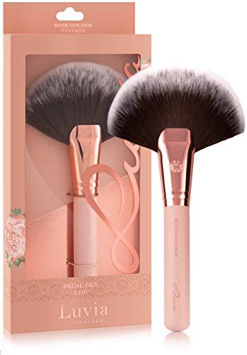 Luvia Fächerpinsel Kosmetik - Prime Fan Brush E210 - XL Fächer-Pinsel in Nude/Roségold - Vegane Kosmetik Schminkpinsel/Kosmetikpinsel