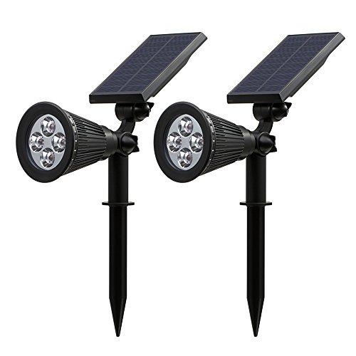 Patiszon Gartenleuchten LED Solarleuchten 200 Lumen Wasserdicht Solarbetriebene Outdoor Spotlight, Wasserdicht für die Hinterhöfe, Gärten, Rasen usw(2 Stück)