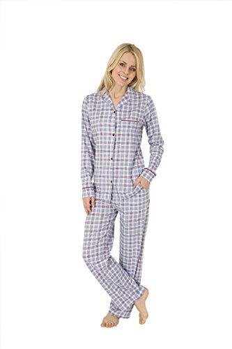 Damen Pyjama Schlafanzug Klassik Durchgeknöpft Karo Baumwolle Hellblau