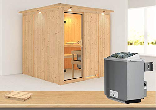 Rodin - Karibu Sauna inkl. 9-kW-Ofen - mit Dachkranz -