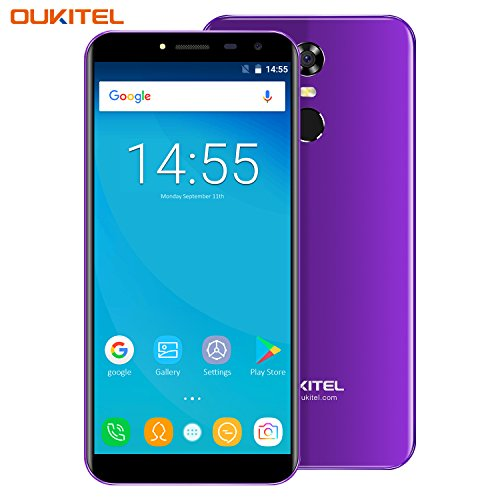 Oukitel C8 Handy ohne Vertrag 5.5 Zoll Smartphone (18:9 Verhältnis Vollbild) Android 7.0 3000mAh Akku MTK6580A Quad Core 16GB ROM 13MP + 5MP Kamera Dual SIM Smartphone mit Fingerabdruck-Lila