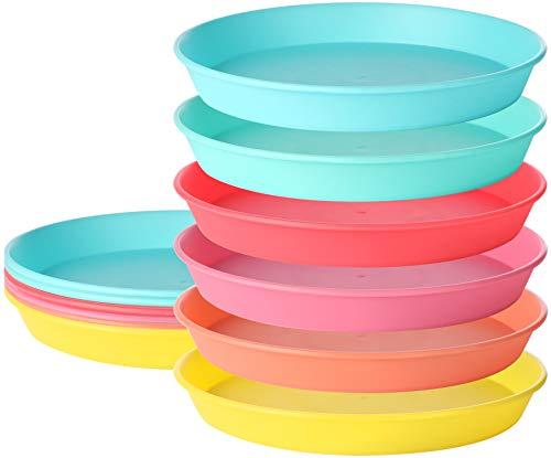 com-four® 12x Teller-Set das Picknick und Grill-Zubehör in Regenbogen-Farben, Campinggeschirr, Reisegeschirr, platzsparend und hygienisch für 6 Paare oder 12 Personen (12 Stück - Teller)