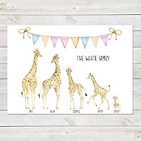 Giraffe Family Print, Wall Art Gift for Home Personalised in A3 or A4