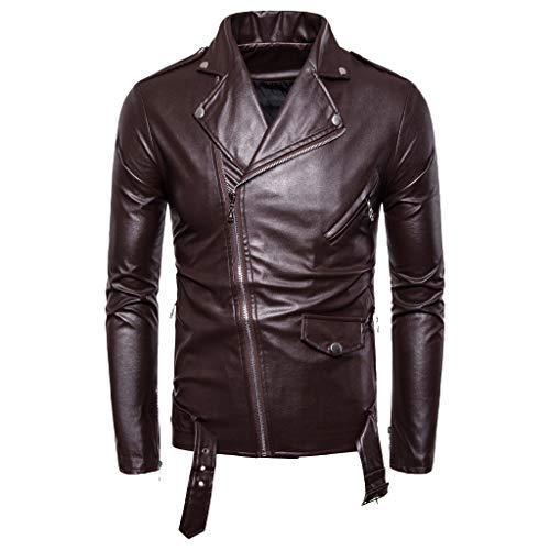 serliyHerren Basic Lederjacke, Mode Lange Ärmel Umlegekragen Bikerjacke Männer Herbst Winter Casual Biker Jacke Mantel Outwear Tops