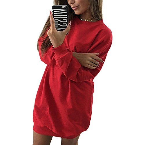 Shujin Femme Sweatshirt Col Rond Manche Longue Pull Robe Sexy Top Blouse Lache Loose Oversize Casual Rouge