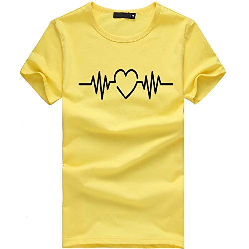 Tees Frauen Mädchen Plus Size Print Tees Shirt Oansatz Kurzarm T-Shirt Bluse Tops - Front-print-tee