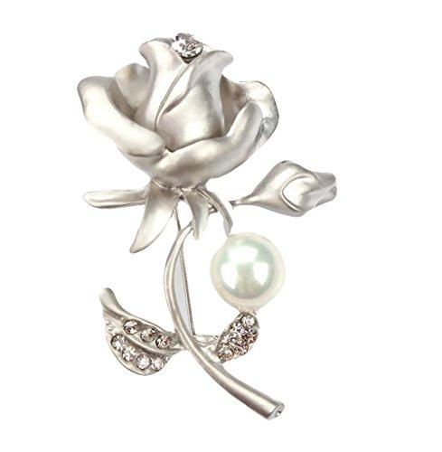Hosaire 1X Broche Strass en forme Rose avec Perle Artificielle Broche Femme-Arg