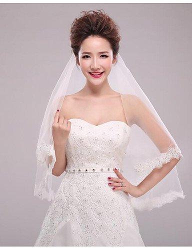 FJY&TS Einschichtig Moderner Stil Brautkleidung Prinzessin Simple Style Hochzeit Modern/Zeitgenössisch Hochzeitsschleier Ellbogenlange Schleier , ivory (Rouge Schleier)