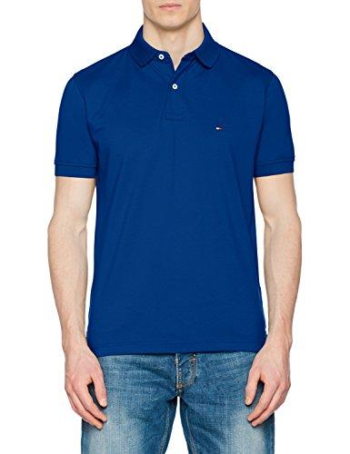 Tommy Hilfiger Regular, Polo para Hombre, Azul (Limoges 406), Large
