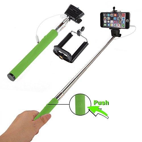 Selfie Stick Stange Stativ Teleskop AUX Selbstauslöser Stativadapter Universal Selfie Teleskobstab IOS Android Selfie Teleskopstab Selfi Stick Selfi Stab für Microsoft Lumia, Nokia, Nokia Asha (Grün)