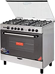 Super General 5 Burner Gas-Cooker/ Gas-Oven/ Automatic Ignition/ Thermostat/ Rotisserie/ Silver/ 90x60x85 cm/