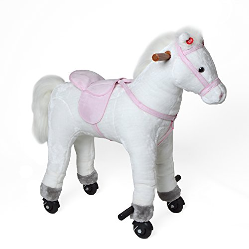 Pink Papaya Reitpferd auf Rollen, XXL 70cm Spielpferd Lola, Schaukelpferd zur Echten Fortbewegung bis 70kg belastbar, Plüsch-Pferd mit 2 Sounds Toys
