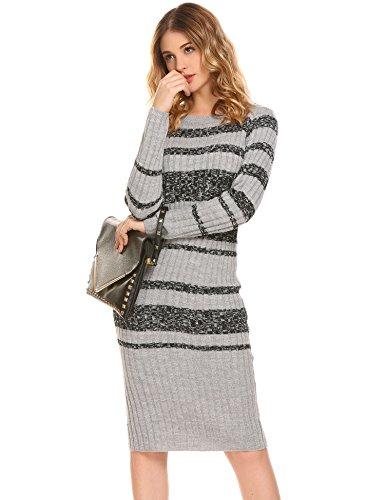 Damen Pulloverkleid Strickkleid Long Pullover Pulli Strickpullover Streifen Pullover Langarm Rundhals Winter Warm