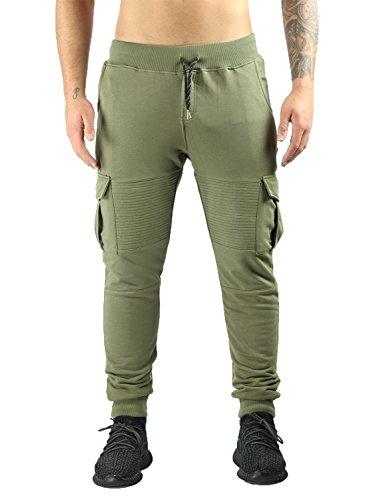Deadstock Sweatpants | Jogginghose Cargo Biker Hose (L, Khaki)