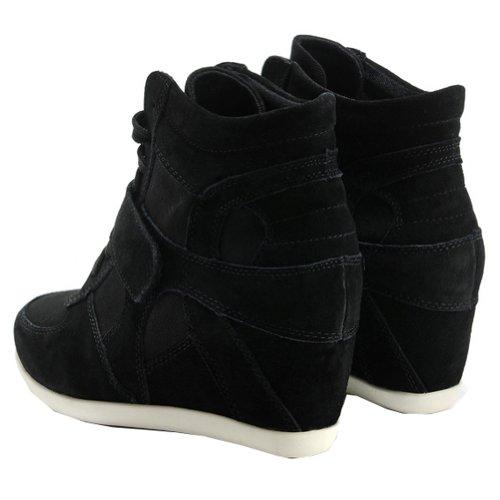 Rismart Femmes Agréable Désinvolte Coinçage En Tissu&Suède Baskets Mode Chaussures Noir