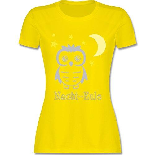 Eulen, Füchse & Co. - Nacht-Eule - tailliertes Premium T-Shirt mit Rundhalsausschnitt für Damen Lemon Gelb