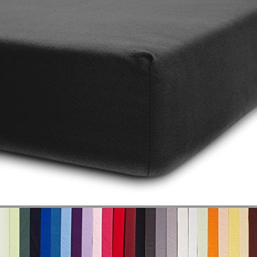 Lumaland Comfort Jersey Spannbettlaken 100 % Baumwolle mit Rundum-Gummizug 200 x 200 cm - 200 x 220 cm Anthrazit