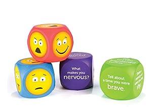 Learning Resources- Dados de Espuma Blanda con Emojis (Set de 4), Color (LER7289)