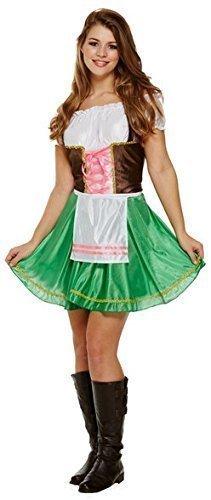Damen Sexy Grün Oktoberfest Bayrisch Deutsch Schwedisch Bier Mädchen Kostüm Kleid Outfit UK (Grünes Kostüme Bier Mädchen)