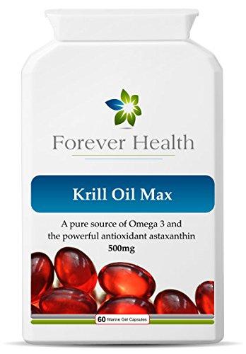 KRILL OIL MAX - Omega 3 Organico Marine Compresse di Olio di Pesce - Sano Articolazioni Cuore e Cervello ! Studi di Scienziati Dimostrano Che Gli Oli Di Pesce Omega3 Possono Aiutare Con Funzione Di Memoria e Ridurre il Rischio di Demenza e Malattia di Alzheimer ! gratuito dieta e sana alimentazione di ogni ordine - 60 x Pillole Super Forti Omega-3