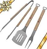 ROMANTICIST 3pcs Grillbesteck Koffer Edelstahl Grillset - Edelstahl Grill Zubehör Grillset für Outdoor Camping Barbecue - Bestes Geburtstagsgeschenk für Männer