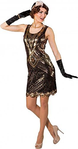 Fancy Me Damen Deluxe Vintage Pailletten Gold schwarz -