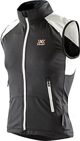 X-Bionic Damen W_CROSSCOUNTRY Lady Spherewind Light OW Vest Weste, Black/White, XL (Bionic Womens Vest)
