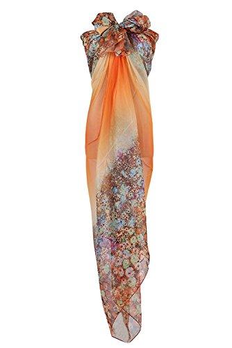 PB-SOAR XXL Mode Damen Sarong Pareo Strandtuch Wickelrock Wickeltuch Schal Halstuch mit Blumenmuster (Orange)