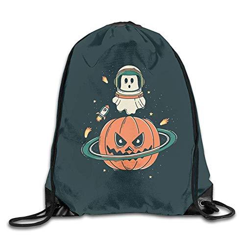 HLKPE Halloween Space Ghost Rocket Pumpkin Planet Cute Gym Drawstring Bags Travel Backpack Tote School Rucksack Halloween Ghost Cowboys