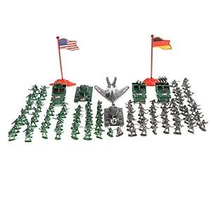 Baoblaze 289 Unidades Juguete Realista de Soldados de Ejército de Segunda Mundial Escena de Arena Figura de Acción para Colecciones